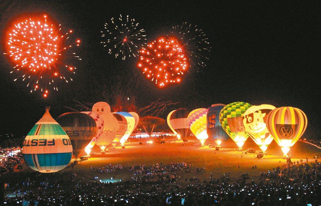 2017年台灣國際熱氣球嘉年華開幕光雕音樂會,明晚在台東縣立體育場舉行,後天在鹿...