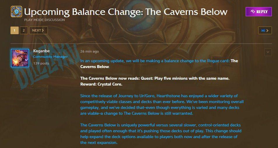 暴雪今日於美服爐石官方論壇發布藍帖消息表示,將在之後的更新中,針對盜賊任務卡「洞...