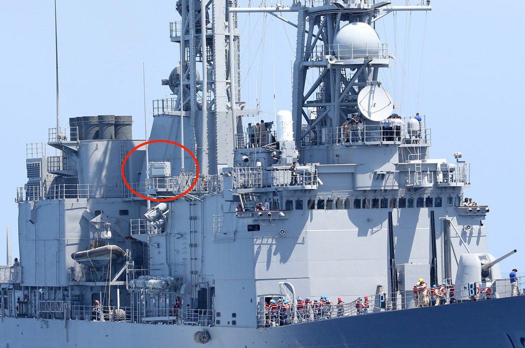 海軍紀德級艦上的AN/SLQ-32海軍電戰系統。圖/本報系資料照片