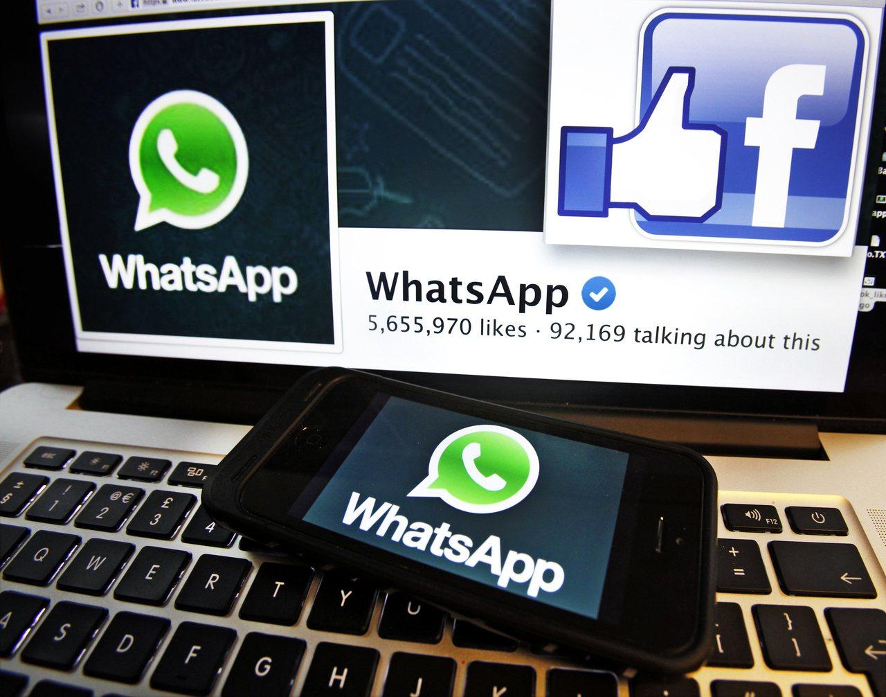 臉書高價收購即時通訊軟體WhatsApp。圖/路透