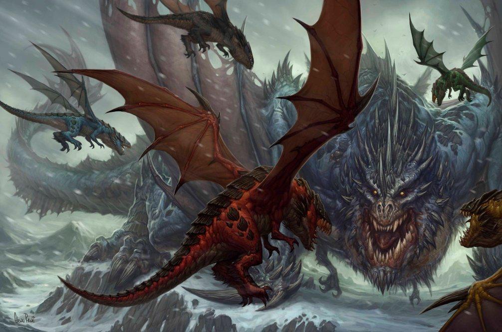 五大巨龍和葛拉克朗展開最終對決(原畫:Glenn-Rane)。