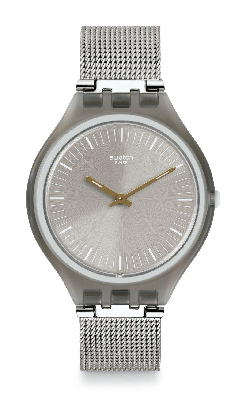 SWATCH時尚米蘭腕表,銀色時尚米蘭帶、灰色表盤,約3,950元。圖/SWAT...