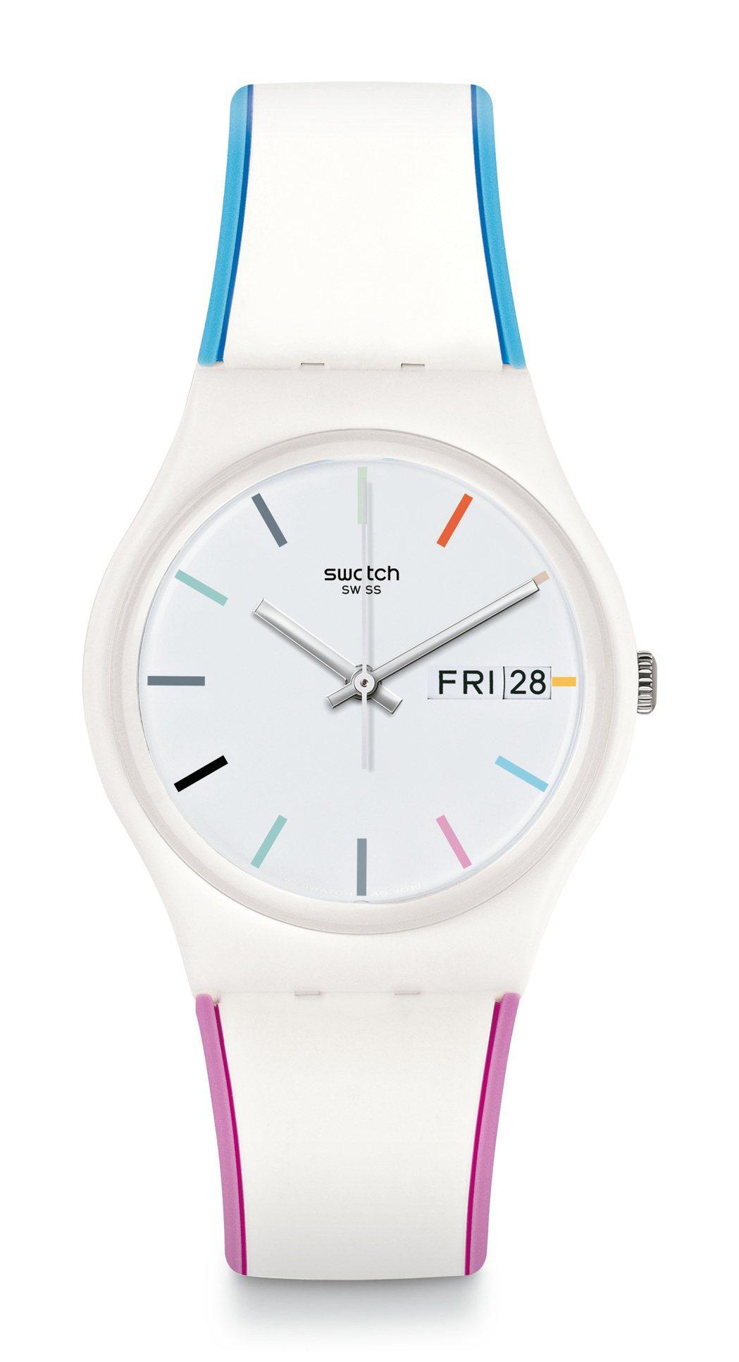 SWATCH夏日粉嫩腕表,白色表盤以明亮色塊鑲邊展開,3點鐘位置帶有日期視窗,約...