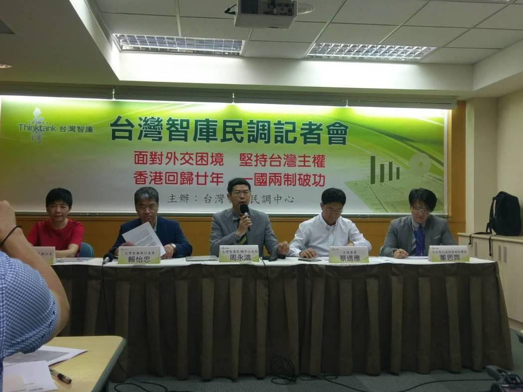 台灣智庫今天發布最新民調。記者徐偉真/攝影