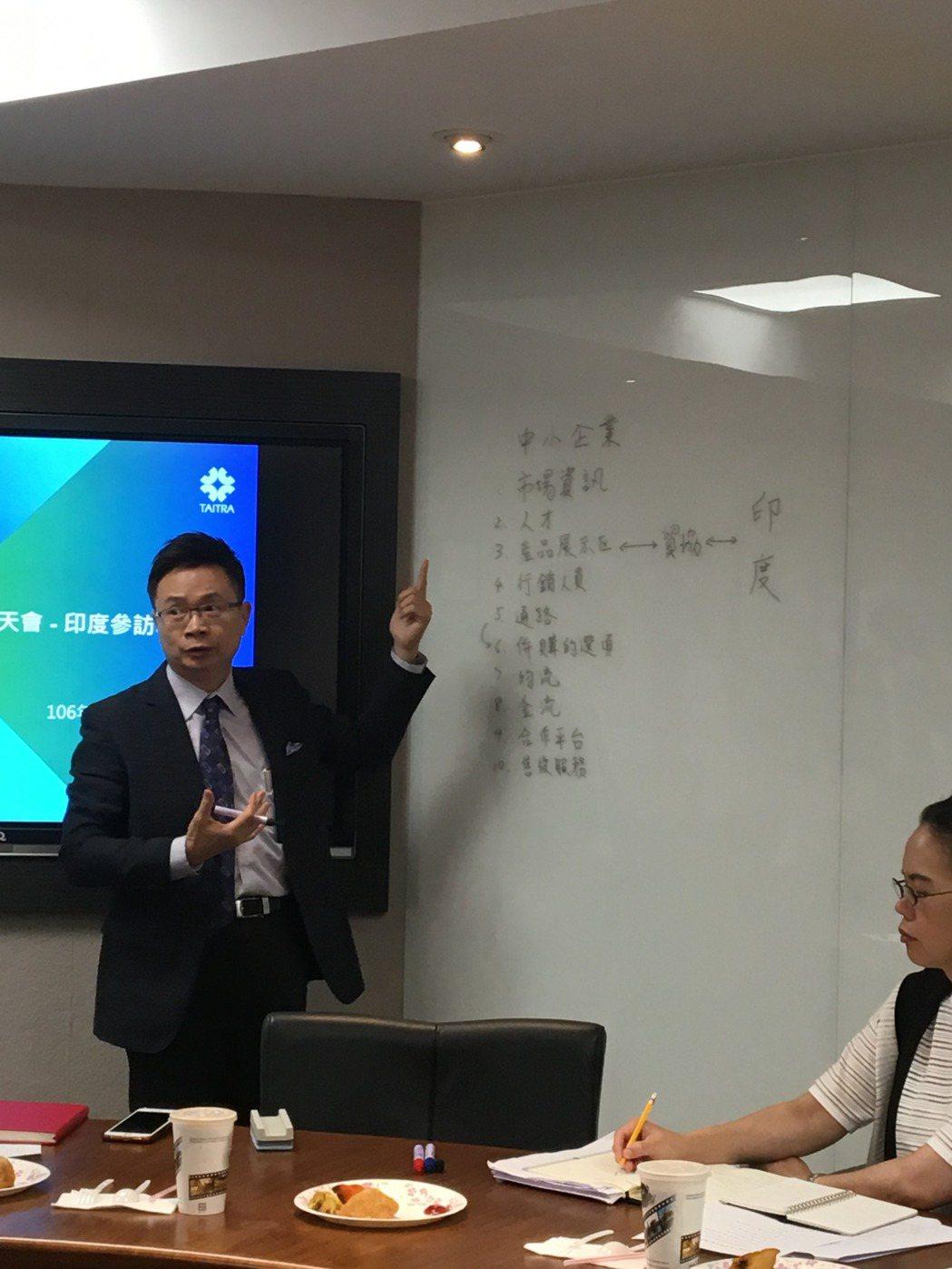 貿協董事長黃志芳今天分享對印度市場的看法與拓銷策略。記者高詩琴/攝影