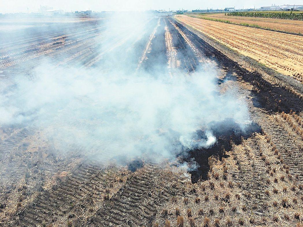 燒稻草的濃煙飄到道路上,可能影響道路視線,也造成空汙。 記者凌筠婷/攝影