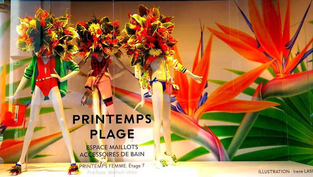 巴黎市中心的「春天」百貨,以花為主題,今年春天所有櫥窗內每個模特兒,脖子上全開滿...