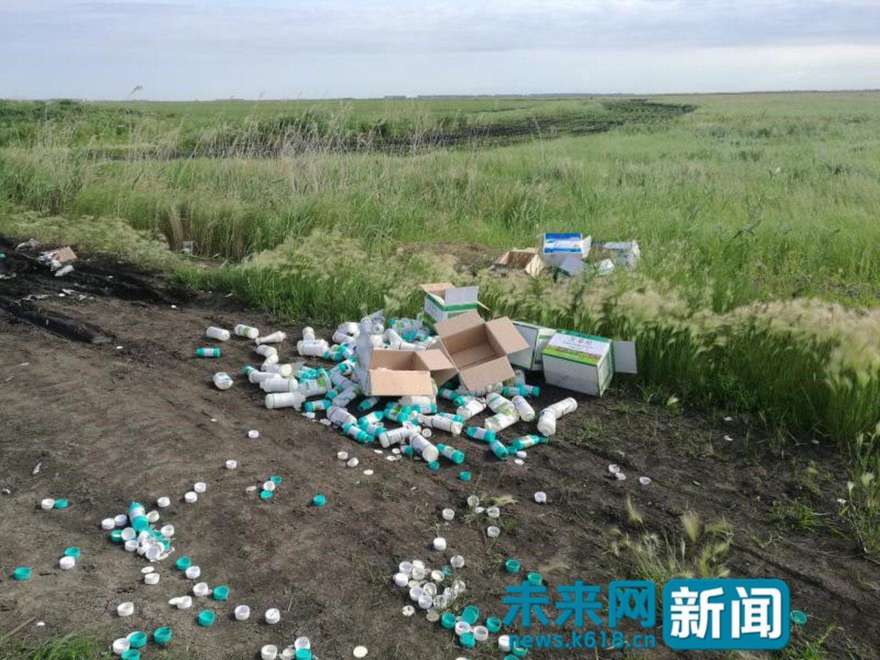 黑龍江寶清縣東升濕地出現大量廢棄農藥瓶。(取材自未來網)