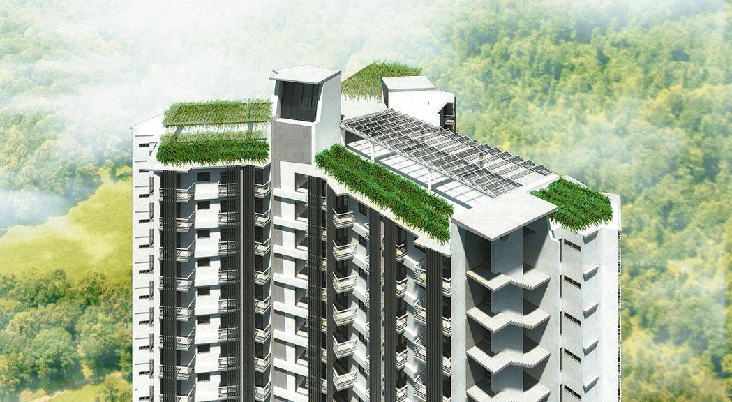 台中市豐原安康段社宅預計年底完工,由名建築師姜樂靜設計,強調採光、通風,屋頂把太...