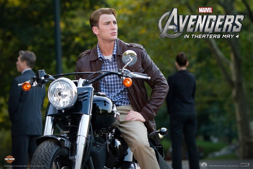 美國隊長系列電影常可見到哈雷機車的蹤影。 圖/Harley-Davidson提供