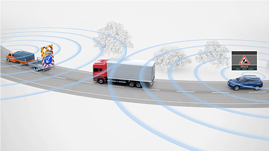 V2V系統可以偵測前方路況,如道路施工。 摘自Volkswagen