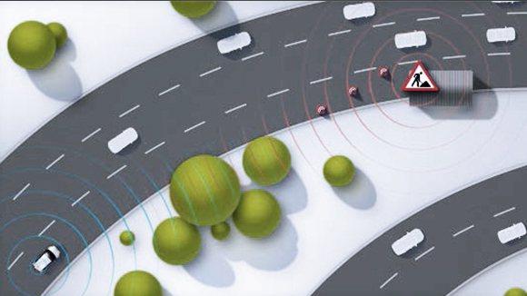 V2V系統將會使用pWLAN公共無線區域網技術。 摘自Volkswagen