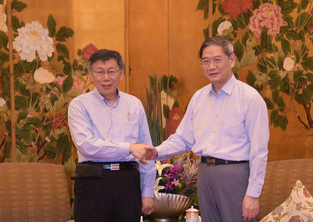 台北市長柯文哲3號下午,和國台辦主任張志軍會面。 圖/北市府提供
