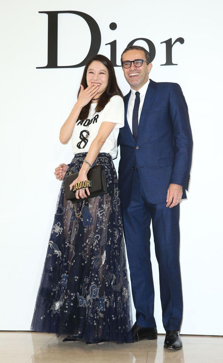 孔曉振上半年來台參與Dior開幕活動與Dior亞太區董事總經理Jerome Ba...