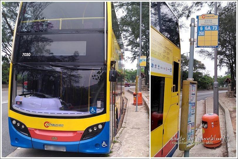 ↑衛奕信徑赤柱峽道站牌,布魯搭乘的就是這樣的6路雙層巴士。
