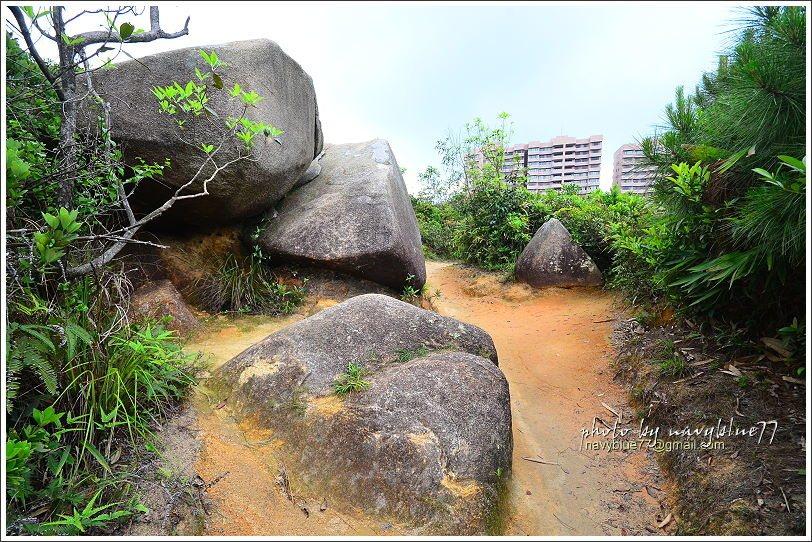 ↑路中的大石堆。