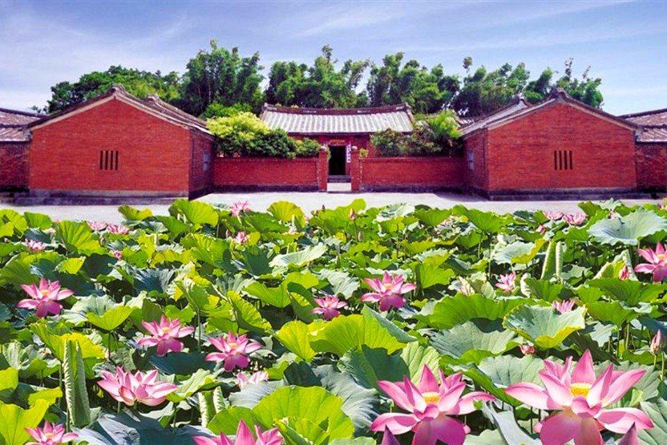 來到觀音知名老宅-林家古厝,欣賞朵朵盛開的蓮田。(圖片提供/桃園市政府觀光局)