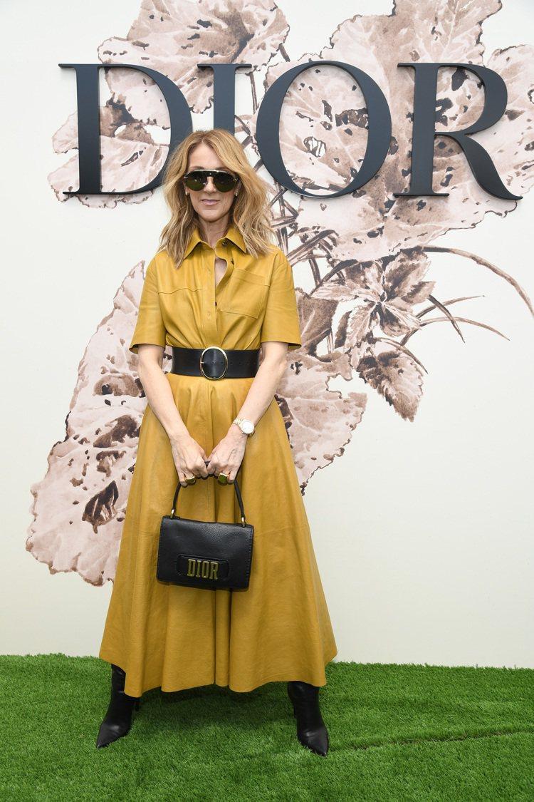 席琳狄翁將芥黃色洋裝穿得相當帥氣。圖/Dior提供