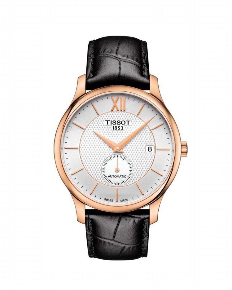 天梭俊雅系列小秒針腕表,採用ETA2825-2自動上鍊機芯,玫瑰金PVD塗層表殼...