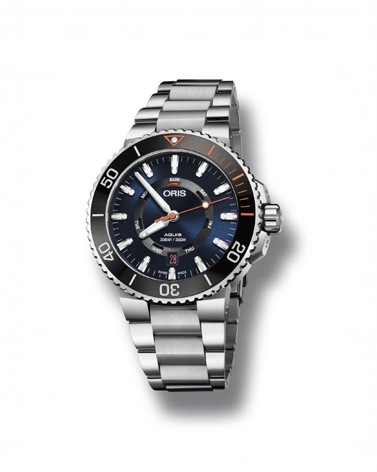 Oris 修復鹿角珊瑚限量表,43.5毫米不銹鋼表殼搭配黑色陶瓷單向旋轉錶圈。鍊...