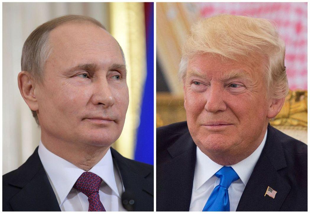 美國總統川普(右)將在7日與俄羅斯總統普亭首次會晤,未安排特定議題。 路透