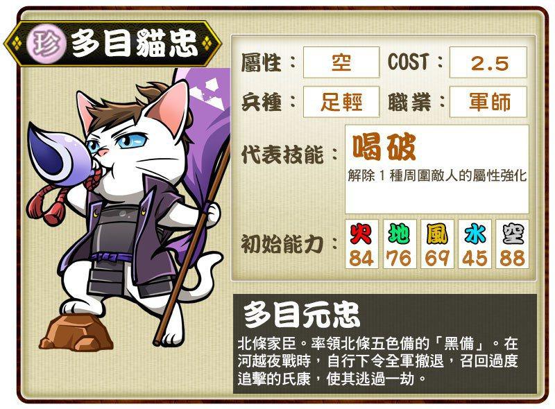 珍卡「多目貓忠」代表技能「喝破」。