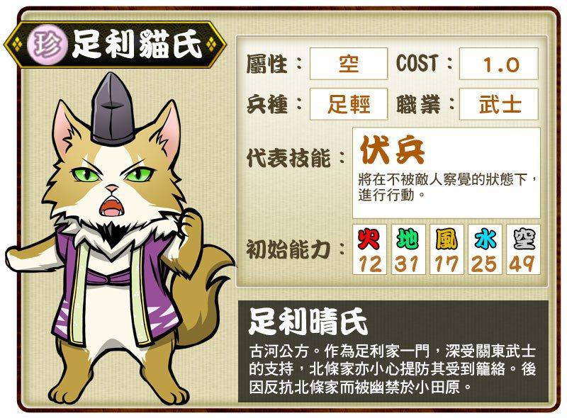 珍卡「足利貓氏」代表技能「伏兵」。