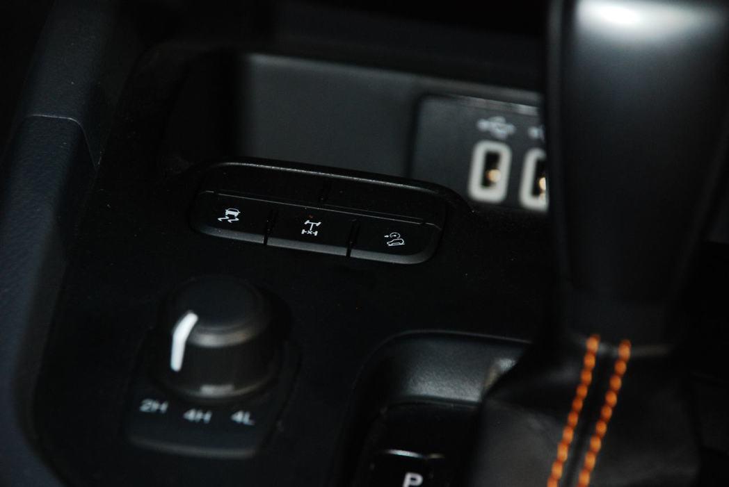 TCS巡緝防滑控制系統、電子式後軸差速器鎖定、HDC陡坡緩降輔助系統。記者林昱丞/攝影