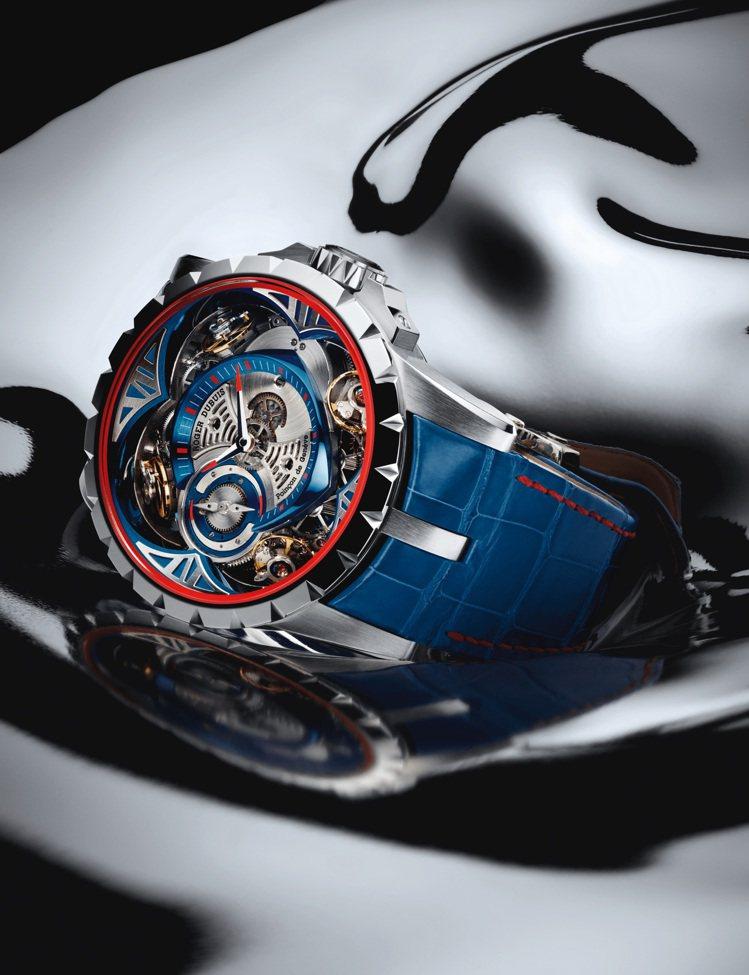 Excalibur鈷鉻合金四擒縱腕表,1,290萬元,限量8只。圖/羅傑杜彼提供