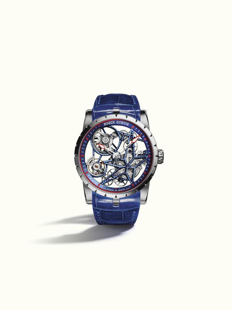 Excalibur鈷鉻合金鏤空自動上鍊腕表,209萬元,限量28只。圖/羅傑杜彼...