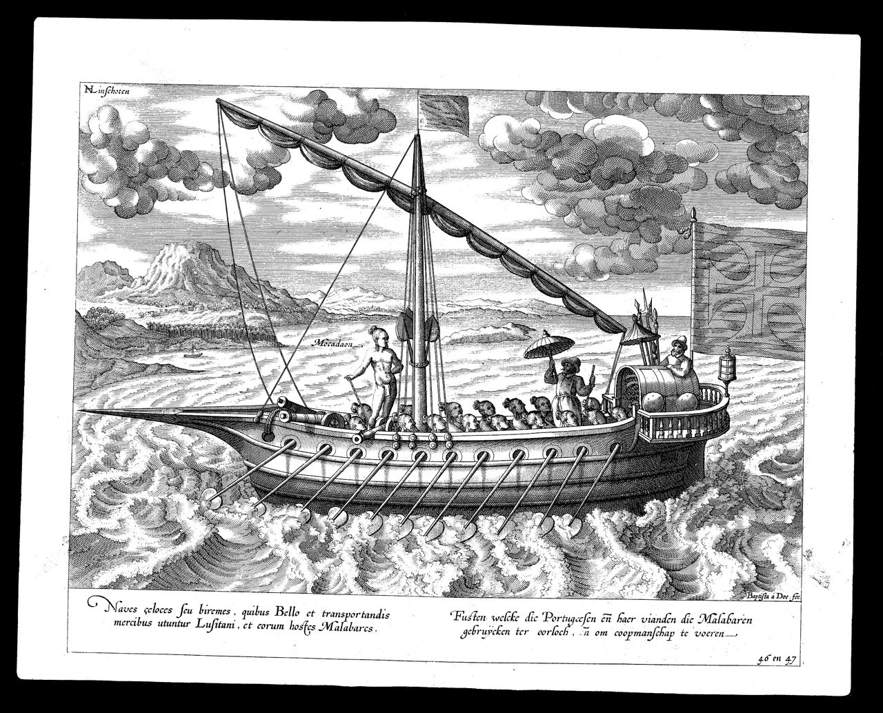 卡加揚人在西班牙的加雷拉(Galera)划槳帆船上服勞役,擔任划槳手。圖/國立臺...