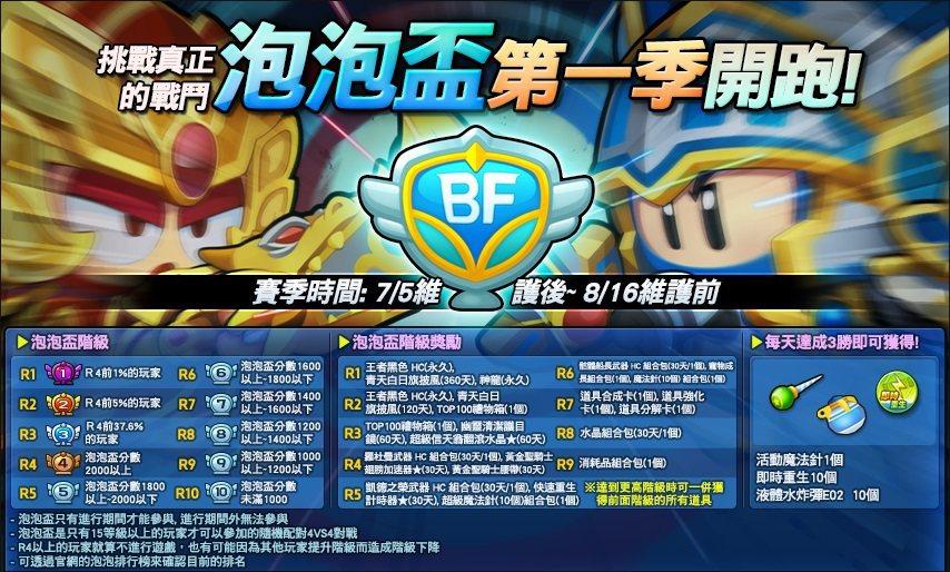 即日起至8月16日止開放全新競技系統,第一屆「泡泡盃」正式登場。