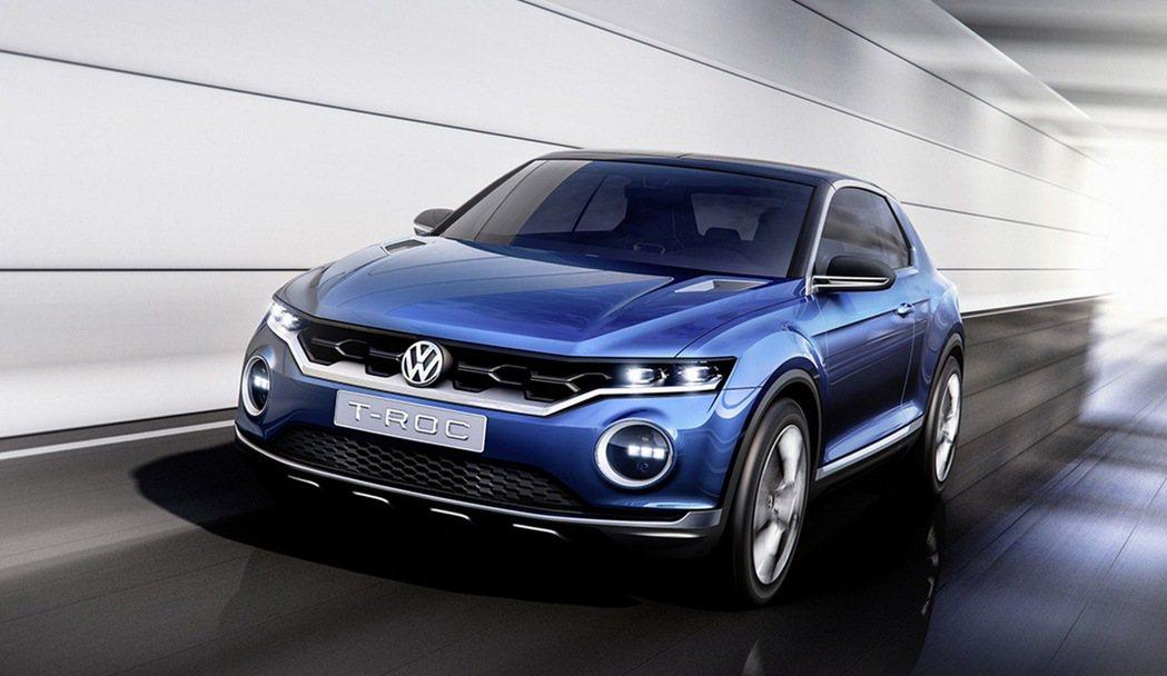 福斯強化SUV布局,小型跨界休旅T-ROC將於今年法蘭克福車展中發表。 圖/台灣...