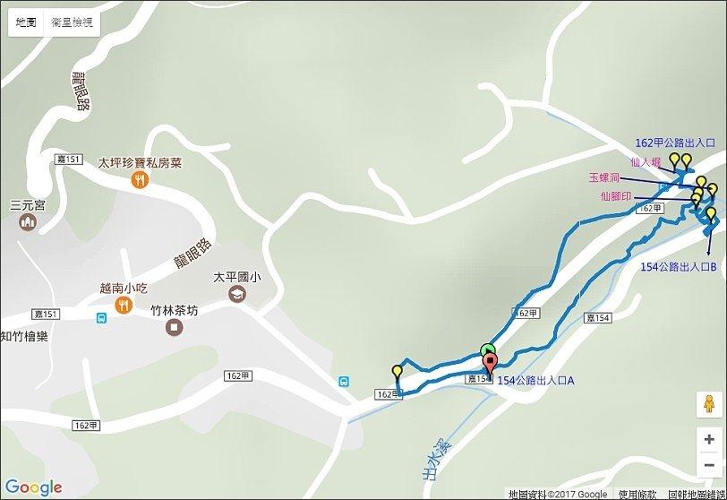 ↑布魯PO在健行筆記網站上的步道GPX軌跡,由154公路仙人堀下入口A進入,可以...