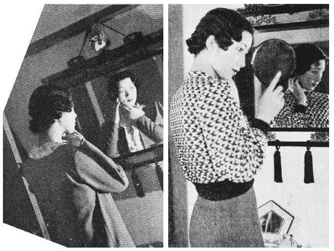 〈從早到晚〉中的照片。右圖為上午的照片,是在化妝後拿著手鏡確認妝容的模樣。左圖為...