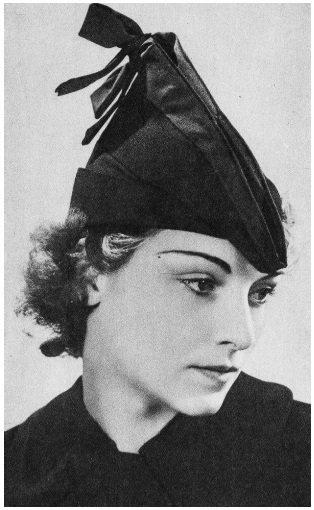 《朝日畫報》一九三七年一月二十七日號所介紹的「新款女帽」。被視為巴黎流行樣式的理...
