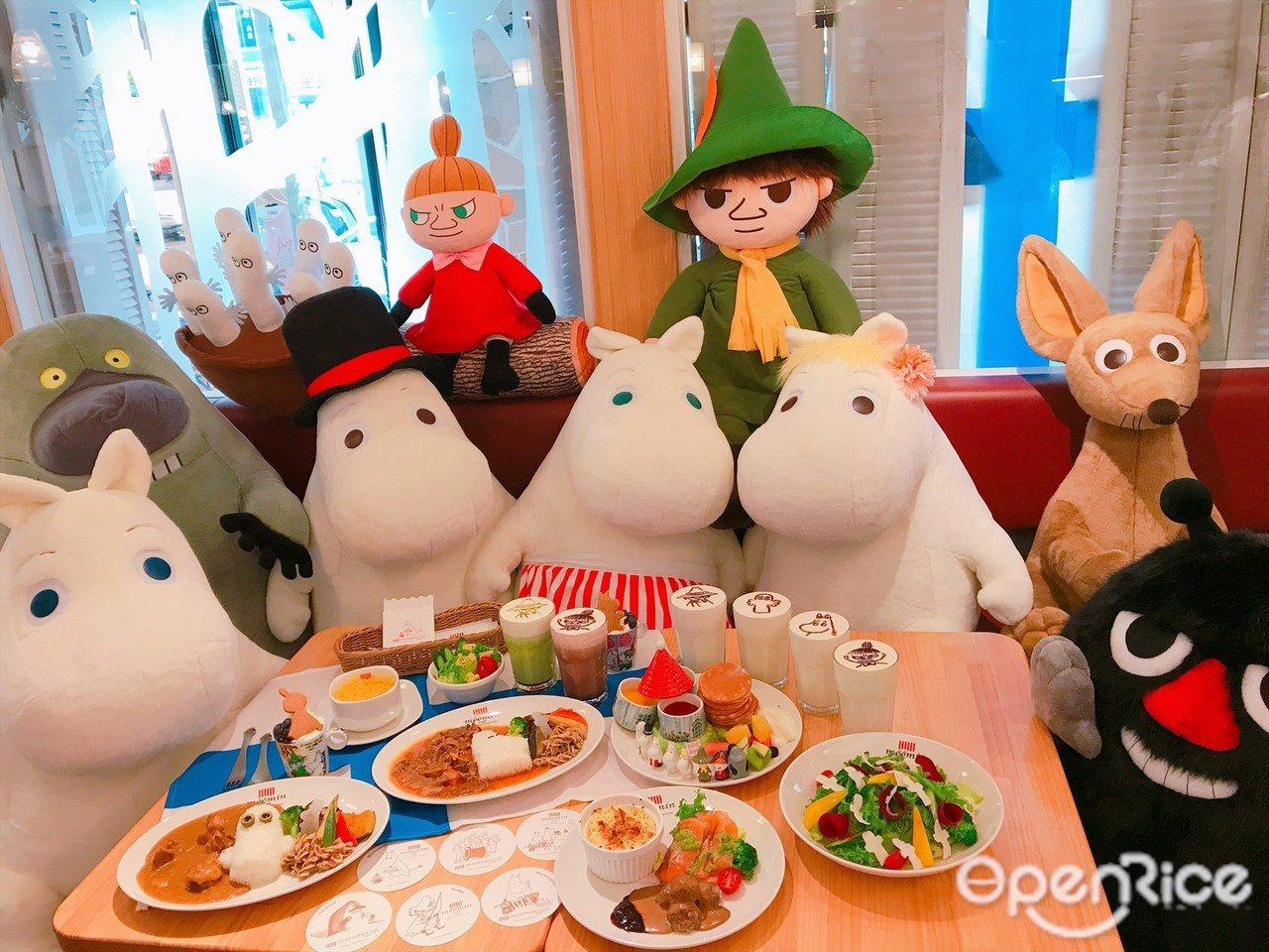 ▲▼與日本店一樣,用餐期間嚕嚕米成員將輪流「跑場」!