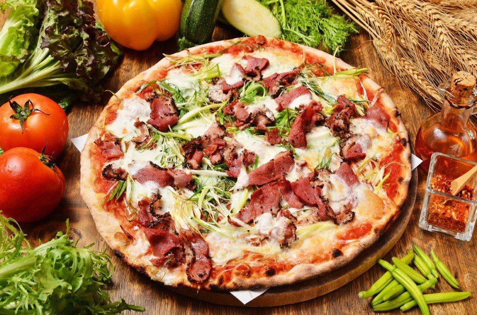 三星蔥煙燻黑胡椒鴨胸披薩 (台灣小麥披薩)NT$450