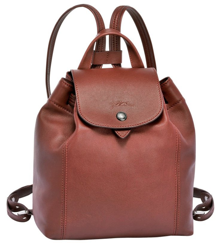 Le Pliage Cuir朱紅色小羊皮後背包,售價16,700元。圖/LONG...