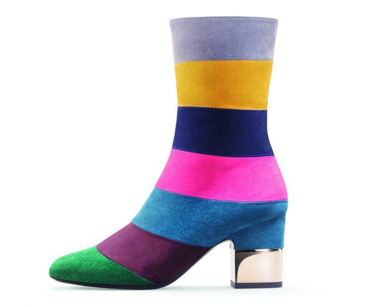 彩色條紋低跟靴,價格店洽。圖/Roger Vivier提供
