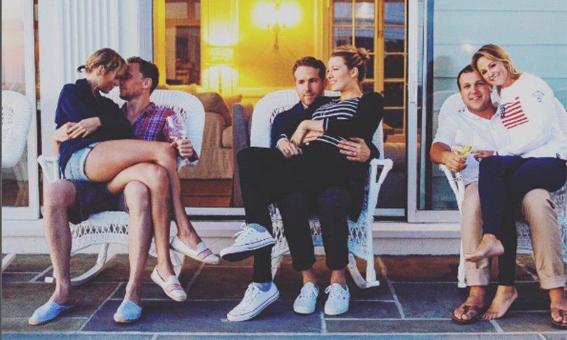 泰勒絲、湯姆希德斯頓、萊恩雷諾斯與布蕾克萊佛莉的情侶合照,曾引起熱烈討論。圖/摘...