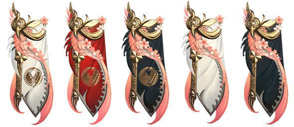 由左至右:喜悅之花披風、權威之花披風、庇護之花披風、誓言之花披風、獻身之花披風。