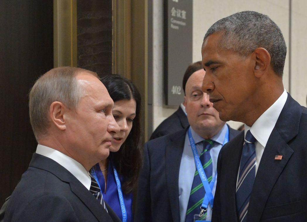 2016年9月5日,當時的美國總統歐巴馬(右)與俄國總統普亭在杭州的G20高峰會...
