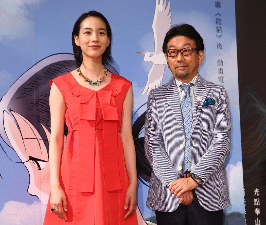 日劇「小海女」爆紅偶像Non首度來台,下午與製片真木太郎一起出席記者會。記者杜建...
