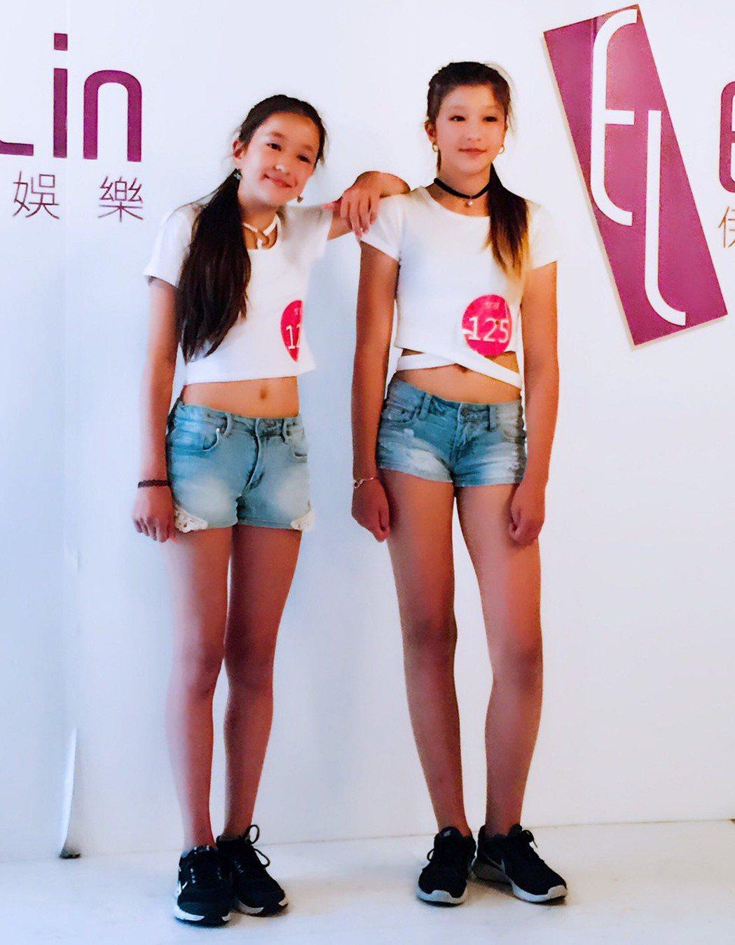 台捷混血姐妹花,13歲何芮函(右)、妹妹12歲何芮曦都是10頭身美少女。圖/伊林...