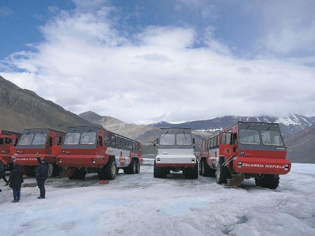 遊客可搭大輪車上哥倫比亞大冰原上欣賞萬年冰川。 記者葉君遠/攝影