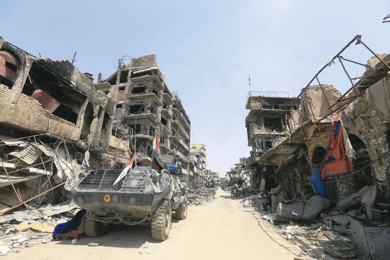 伊拉克摩蘇爾舊城滿目瘡痍。 路透