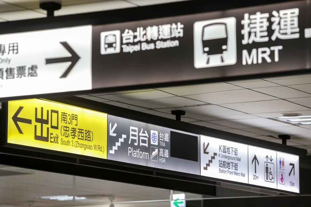台北車站指標繁雜,常讓許多旅客無所適從。 本報資料照片