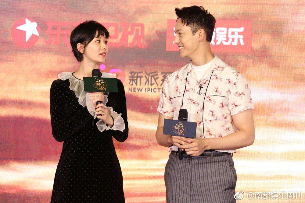 男星陳偉霆與劉詩詩主演古裝大戲「醉玲瓏」,8日兩人一同現身該劇於上海的發佈會。 ...