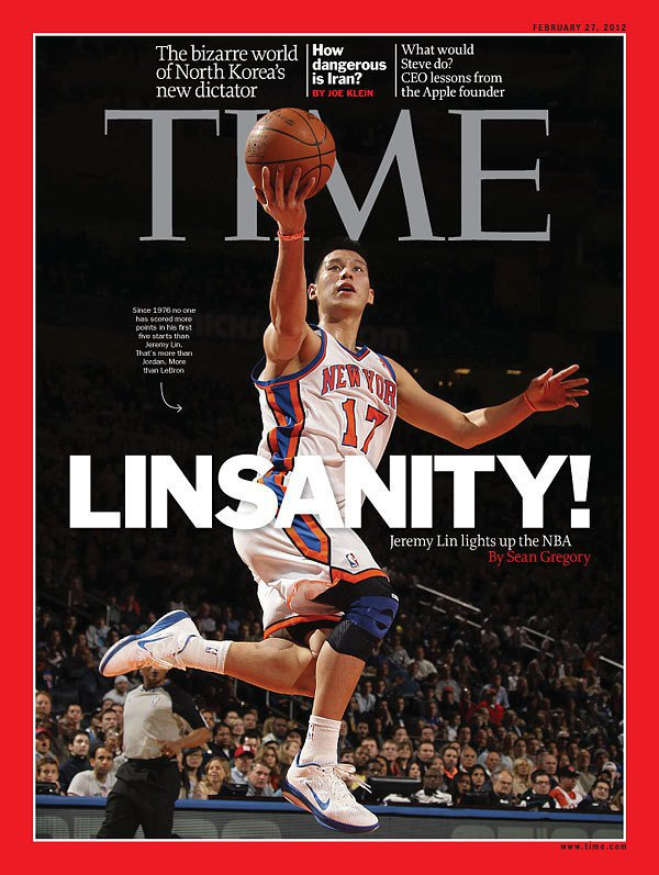 「林來瘋」席捲全球,林書豪曾登上時代雜誌亞洲版的封面人物。 (翻攝自時代雜誌網站...